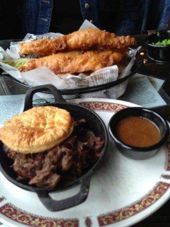 Ship Inn Restaurant & Brewery : Top: Fish & Chips, Bottom: Crosby Beef & Mushroom Pie