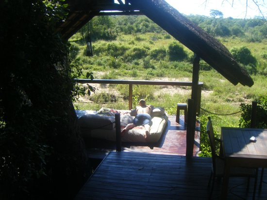Jock Safari Lodge: Our private decking area overlooking the watering hole