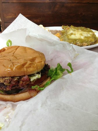 Lincoln County Grill: Billy Kid burger and green chile smothered chicken fried steak. YUM! PERFECTION!
