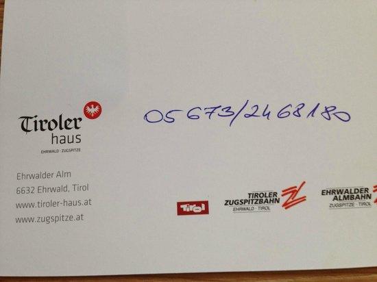 Tirolerhaus: Reservierung Nr. für Rodelabend