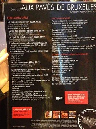 Aux pavés de Bruxelles : carte des plats