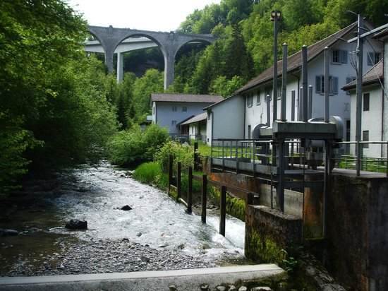 Baar, Suisse: Water power generator plant just a short walk from the cave entrance.
