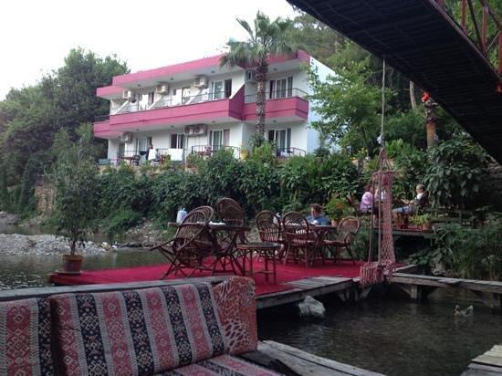 Arikanda River Garden Restaurant: Hotel rooms from the table.