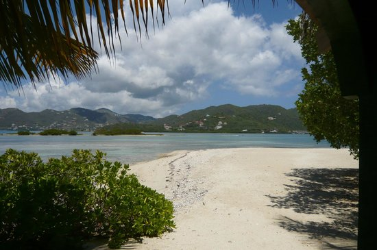 Surfsong Villa Resort: View of Well Bay with Tortola in background.