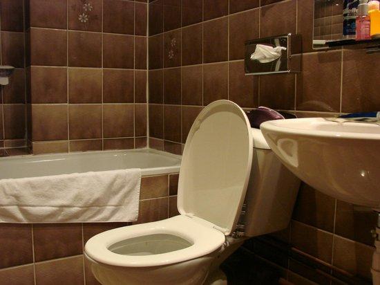 Logis Hotel Au Cerf d'Or: salle de bain étroite