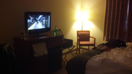 Quality Inn Airport: A view of the bed area and TV