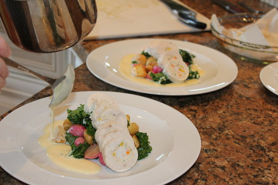 Blanket and Spoon : Spot prawn stuffed chicken breast, baby potatoes and braised radish and kale.  yummy basil lemon
