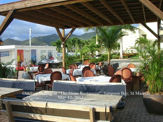 The Stone Restaurant: Outdoor Dining Area at the Stone Simpson Bay Marina
