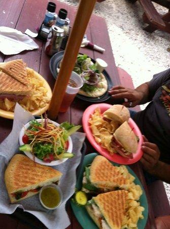 Blue Highway Pizzeria : Lamb flatbread, ham and cheese panini, chicken breast sandwich, Geno sandwich, half panini w sal