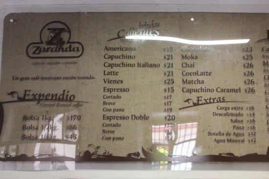 Zaranda Café Palafox: menu