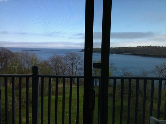 Ledges By the Bay: Looking through the sliding glass doors.