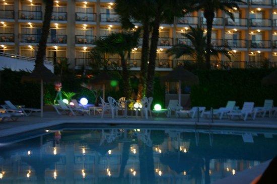 Hostal Mar y Huerta : sat in the bar area looking at the pool