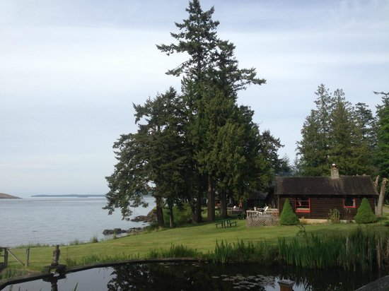 Lonesome Cove Resort: view of smaller pond and Cabin 1 from near the office