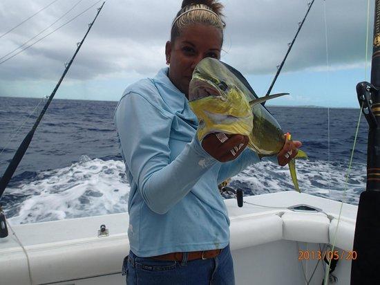 "Panoply Sport Fishing & Luxury Charters: Trish and a ""teenager"" Mahi Mahi"