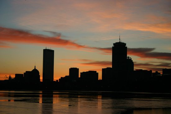 Charles River Bike Path: Winter sunrise over Boston, from the Charles River bicycle path