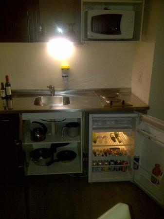 Montanas Azules Apart Hotel: Cocina con frigobar