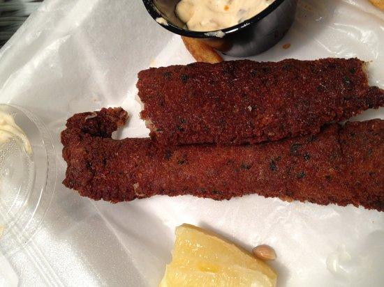Sea Star Cafe & Bar : Burned fish and chips