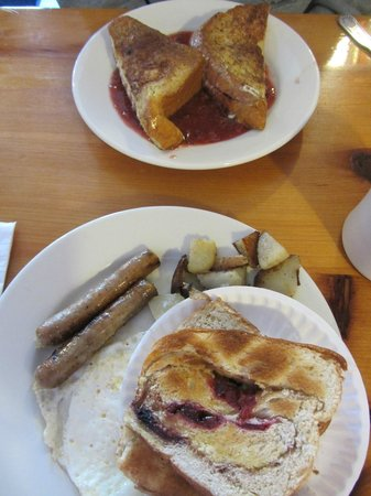 Two Sisters Coffee Shop: Berry Stuffed French Toast and Egg, Home Fries, Sausage & Patriot Toast