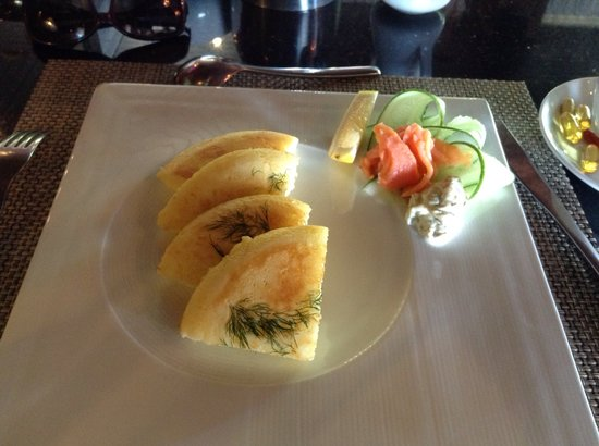 Rocky's Boutique Resort: To die for Dill pancakes with smoked salmon