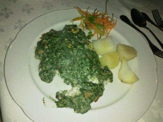 Hotel Restaurant Cap Ducal: Corvina con salsa de espinacas