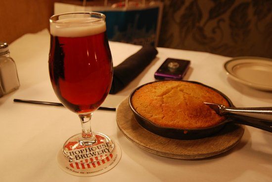 District Chophouse & Brewery : Cherry blossom brew + pan cornbread
