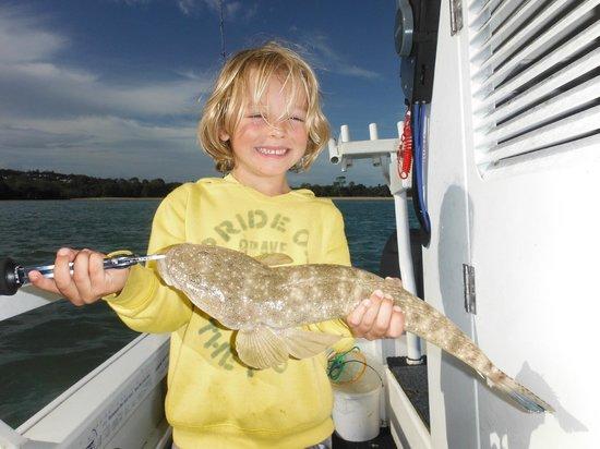 Noosa River Fishing Safaris: Jasper Bladon with his 50cm Flathead