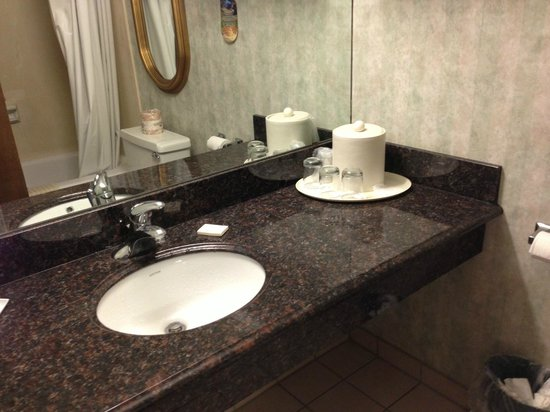 Hotel Piccadilly : The bathroom sink. It was nice granite!