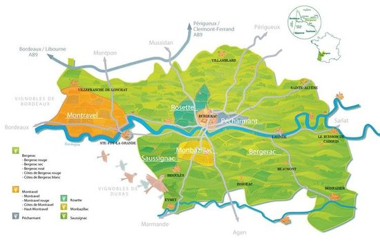 Wine map of Bergerac region Picture of Bergerac Wine Tours Eymet