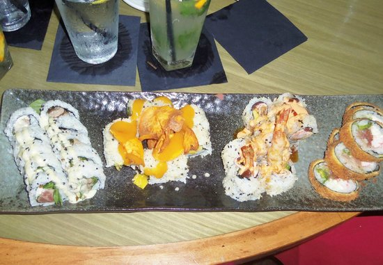 "Dragonfly Sushi & Sake Co Incorporated: L-R ""Black & Bleu"", ""Mango Tango"", ""The Bomb"", ""Krispy Krunch"""