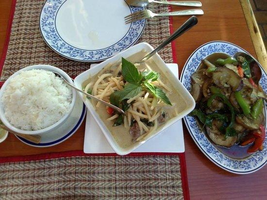 Sawasdee Thai Restaurant : Steamed rice, green curry w/beef & bamboo shoots & Japanese eggplant with black bean & garlic
