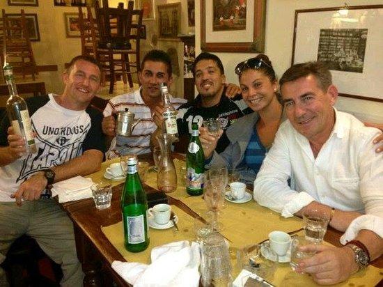 Vini e Vecchi Sapori : The Team with full bellies,¨some ¨wine,grappa and sambuca.Joy!!