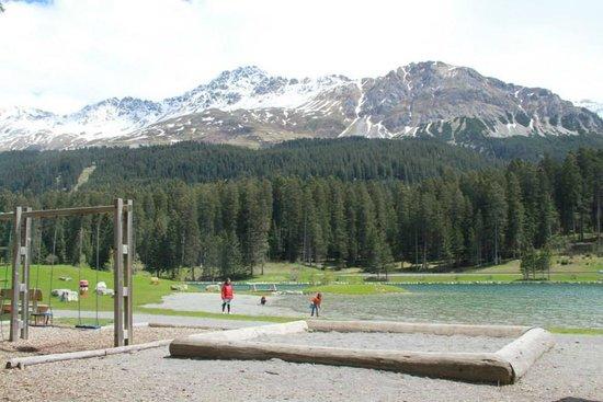 Ski resort Lenzerheide: view from playground at Heidsee