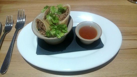 Angel Inn: Duck spring rolls with sticky hoi sin sauce