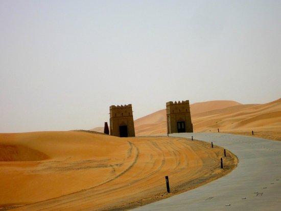 Qasr Al Sarab Desert Resort by Anantara: Gates to the hotel grounds.