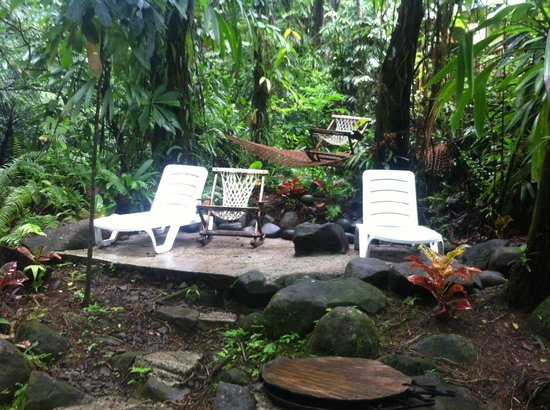 Roots Jungle Retreat: Relaxation area by the river