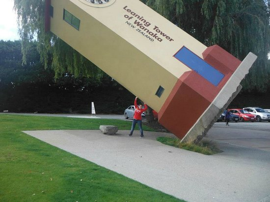 Puzzling World: Everyone has their photo taken with the famous leaning tower of Wanaka time goes backwards.