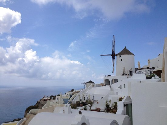 Fanari Villas: View from dining terrace towards windmill