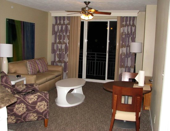 Wyndham Ocean Walk: One bedroom condo has a spacious living room with small dining area.