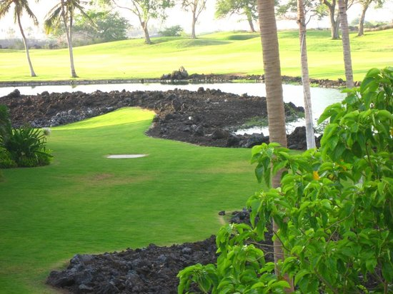 Kings' Land by Hilton Grand Vacations: Grassy lawn with golf course on other side of water feature