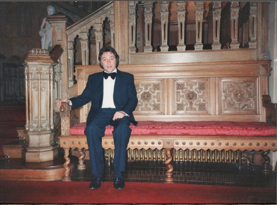 Highclere Castle: Cliff taking a seat, at the bottom of the stairs.