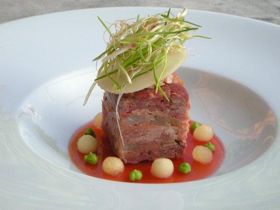 La Metairie des Songes: Terrine petit salé & smoked tuna, apple gel, wasabi, sage beignet