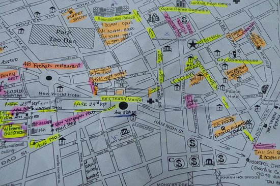 Vy Khanh Guesthouse: our map from the lady of the guesthouse