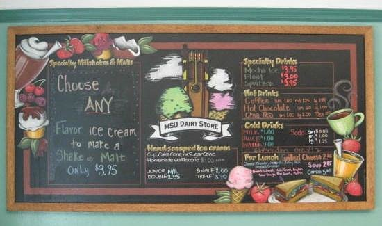 MSU Dairy Store: Menu Chalkboard