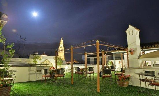 Hospederia del Atalia : Vista nocturna de la terraza del hotel