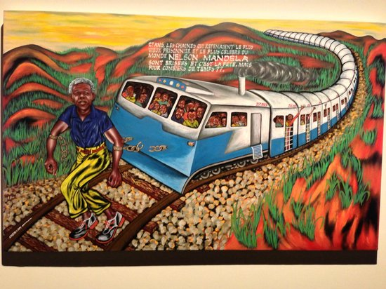 International Red Cross and Red Crescent Museum : One of the art pieces in the museum (this one represents Mandela's 27 years in prison)