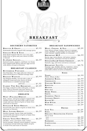 The Magnolia Cafe: Breakfast Menu