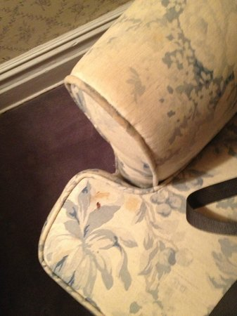 Roger Smith Hotel : Stained dingy uphostry (the other chair and pillows are dingy too)