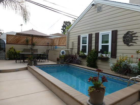Beach Hut Bed and Breakfast: The Windows of the Garden Cottage Overlooking Pool