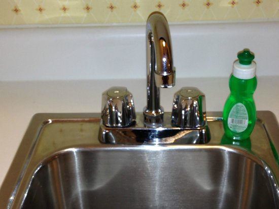 The Milburn Hotel: small sink in kitchenette complete with dishwashing liquid