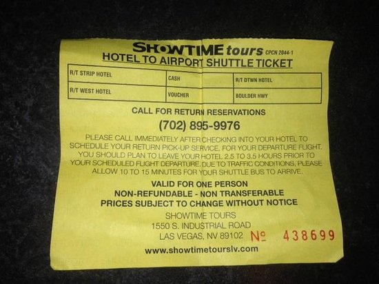Showtime Tours: Crappy voucher that I couldn't use